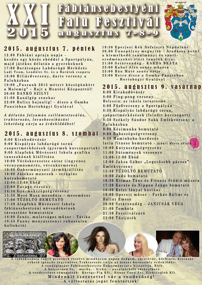 XXI. Fábiánsebestyéni Falu Fesztivál